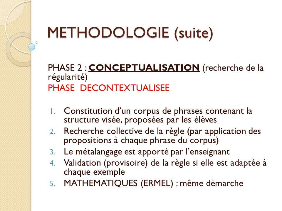 METHODOLOGIE (suite) PHASE 2 : CONCEPTUALISATION (recherche de la régularité) PHASE DECONTEXTUALISEE.