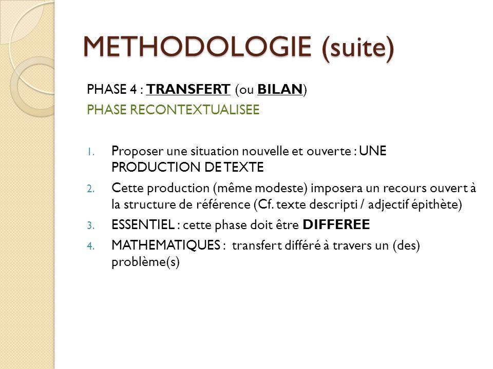 METHODOLOGIE (suite) PHASE 4 : TRANSFERT (ou BILAN)