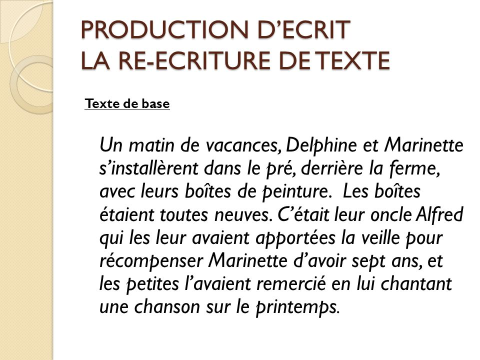 PRODUCTION D'ECRIT LA RE-ECRITURE DE TEXTE
