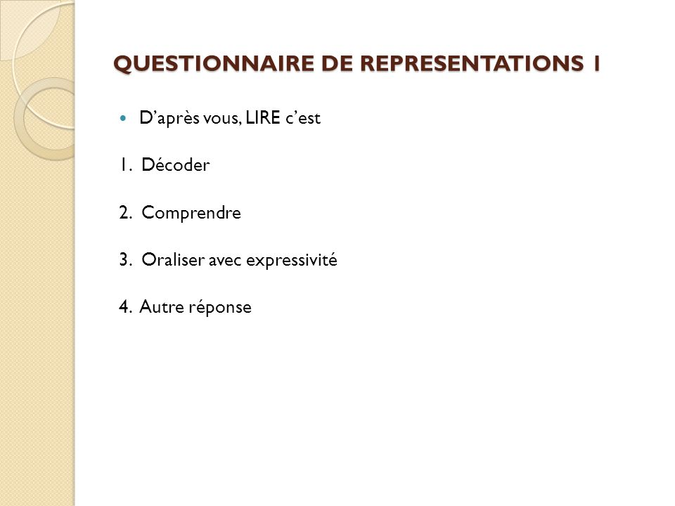 QUESTIONNAIRE DE REPRESENTATIONS 1