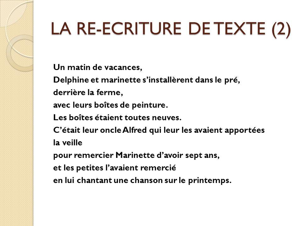 LA RE-ECRITURE DE TEXTE (2)