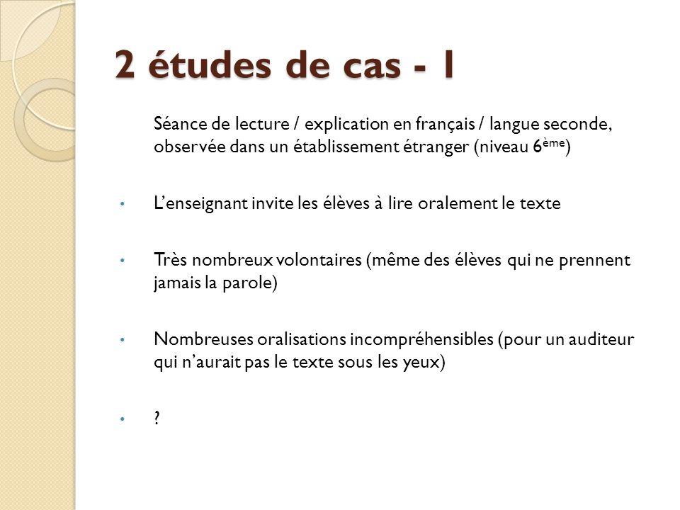2 études de cas - 1 Séance de lecture / explication en français / langue seconde, observée dans un établissement étranger (niveau 6ème)