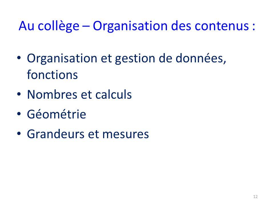 Au collège – Organisation des contenus :