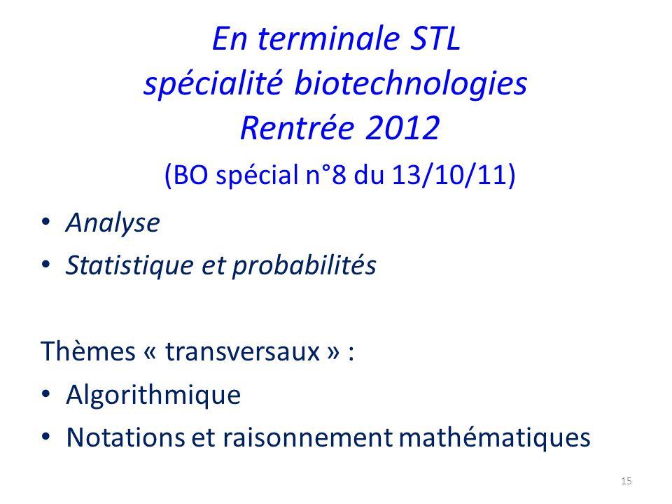 En terminale STL spécialité biotechnologies Rentrée 2012 (BO spécial n°8 du 13/10/11)