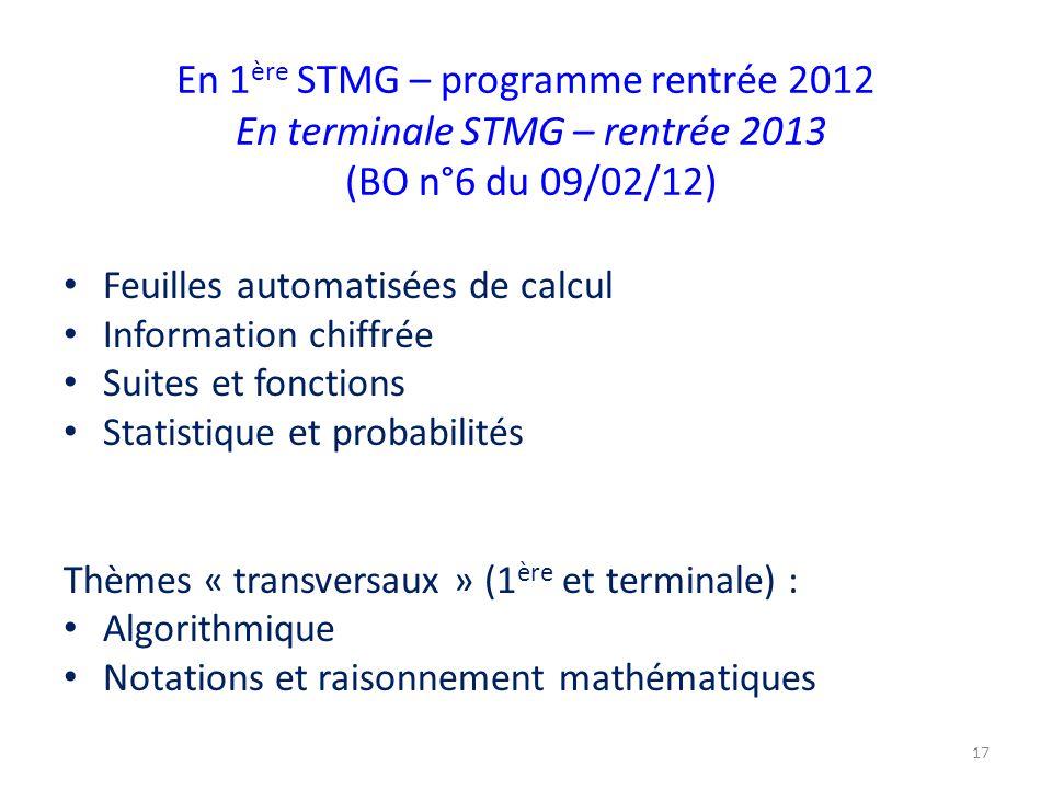 En 1ère STMG – programme rentrée 2012 En terminale STMG – rentrée 2013 (BO n°6 du 09/02/12)
