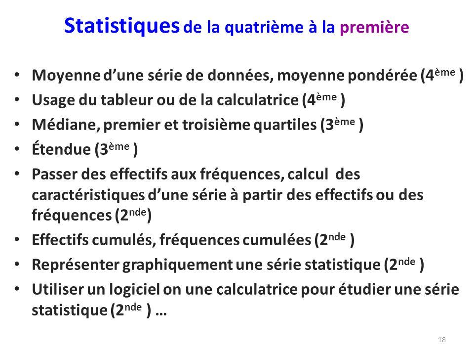 Statistiques de la quatrième à la première