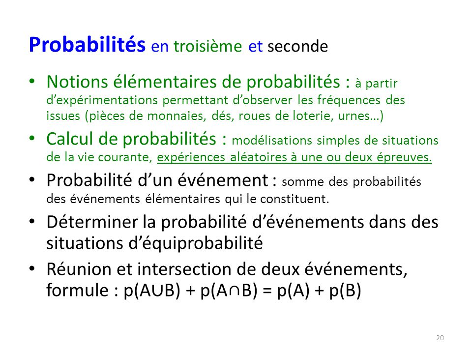 Probabilités en troisième et seconde
