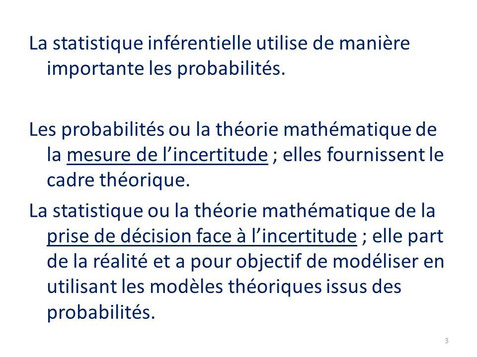 La statistique inférentielle utilise de manière importante les probabilités.