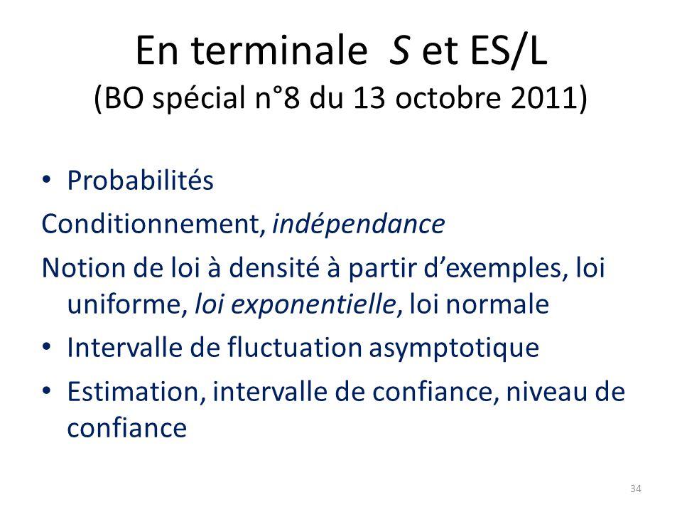 En terminale S et ES/L (BO spécial n°8 du 13 octobre 2011)