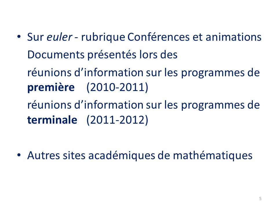 Sur euler - rubrique Conférences et animations