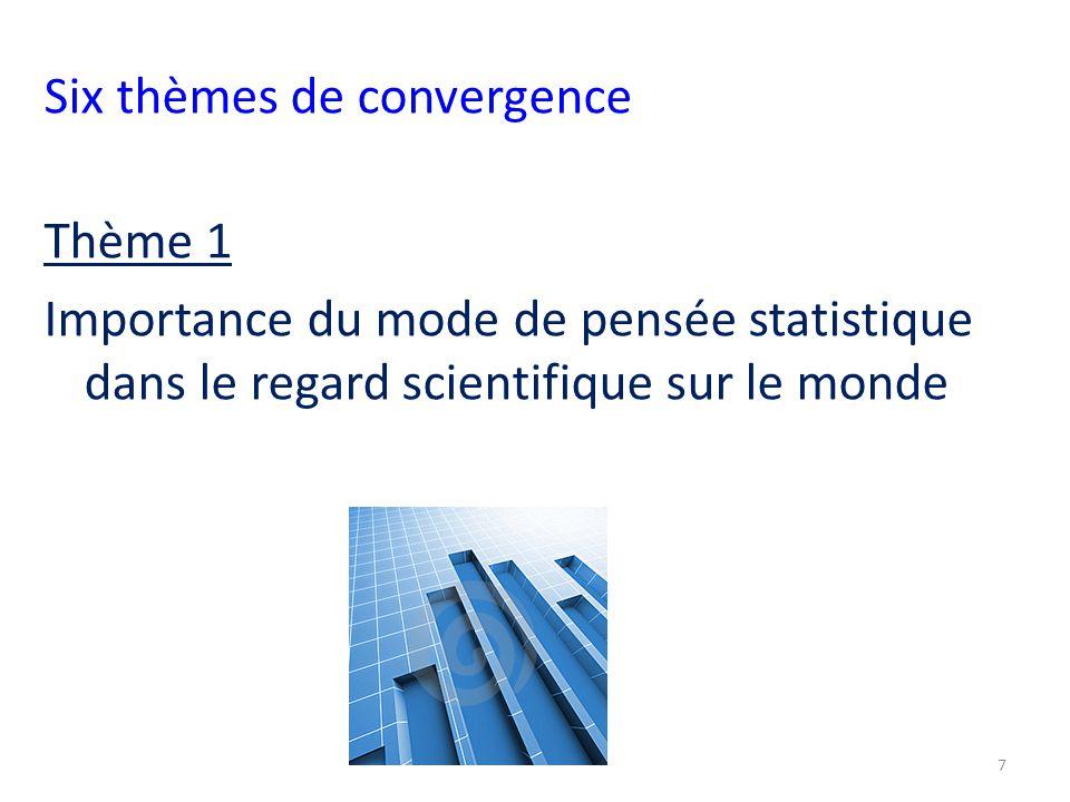 Six thèmes de convergence Thème 1 Importance du mode de pensée statistique dans le regard scientifique sur le monde