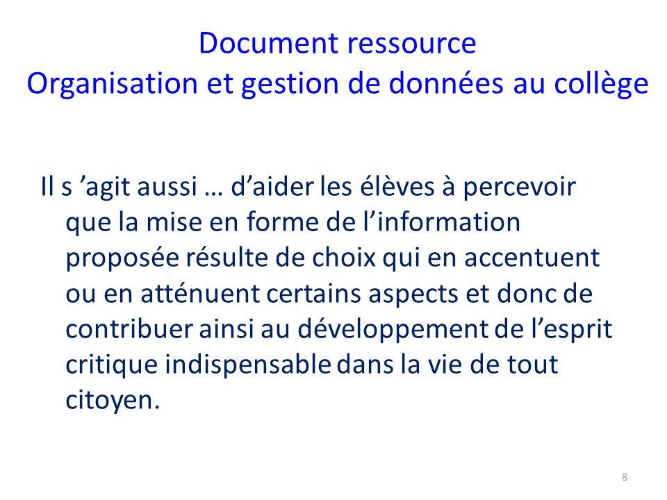 Document ressource Organisation et gestion de données au collège