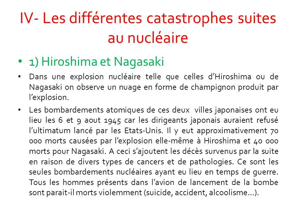 IV- Les différentes catastrophes suites au nucléaire