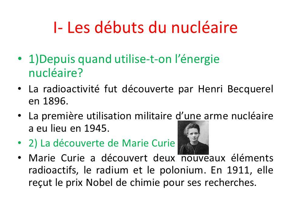 I- Les débuts du nucléaire