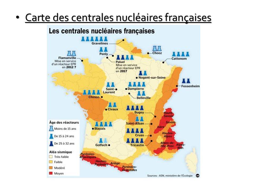 Carte des centrales nucléaires françaises