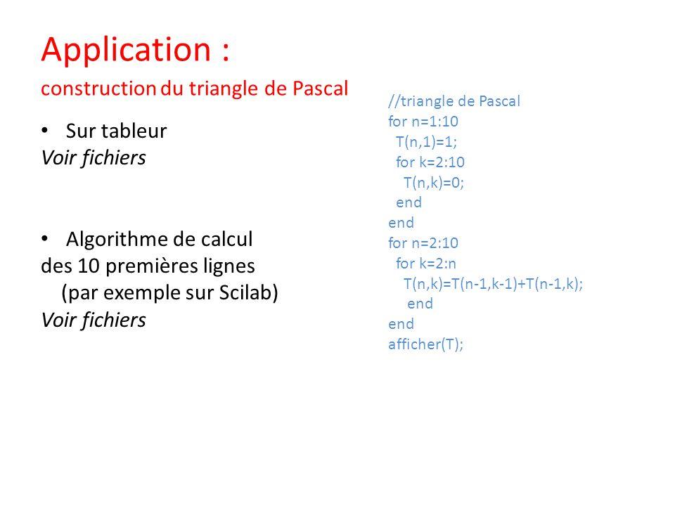 Application : construction du triangle de Pascal