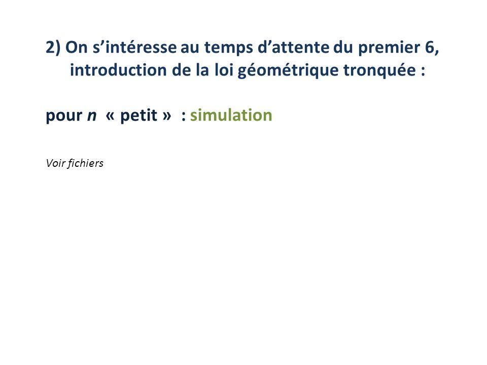 pour n « petit » : simulation