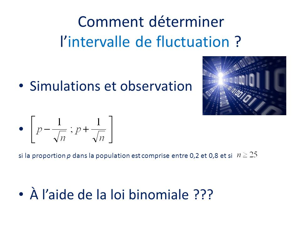 Comment déterminer l'intervalle de fluctuation