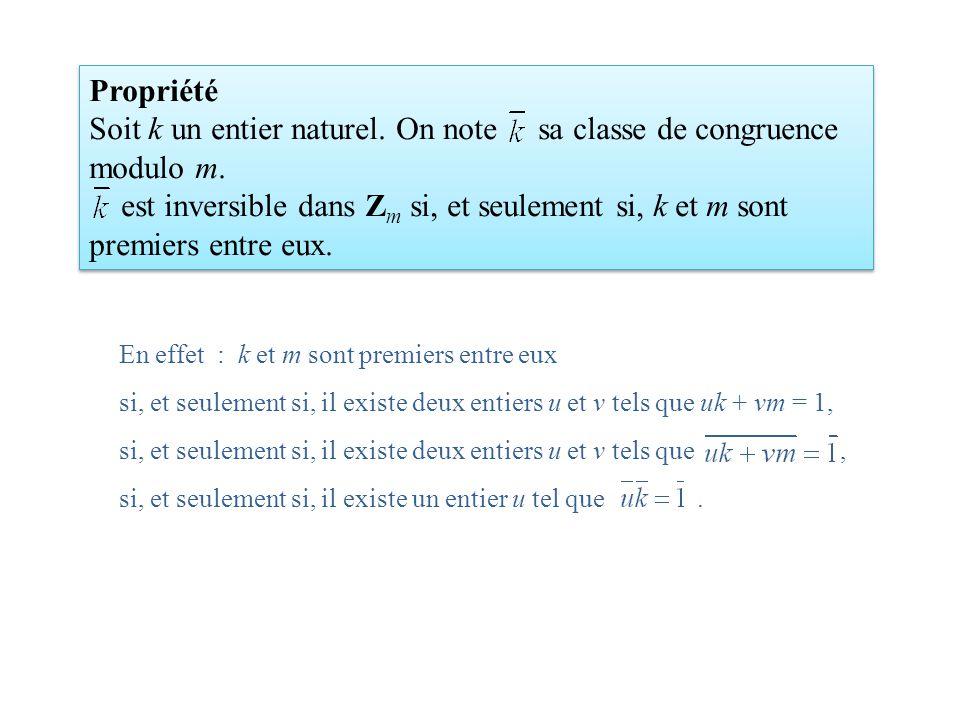 Soit k un entier naturel. On note sa classe de congruence modulo m.