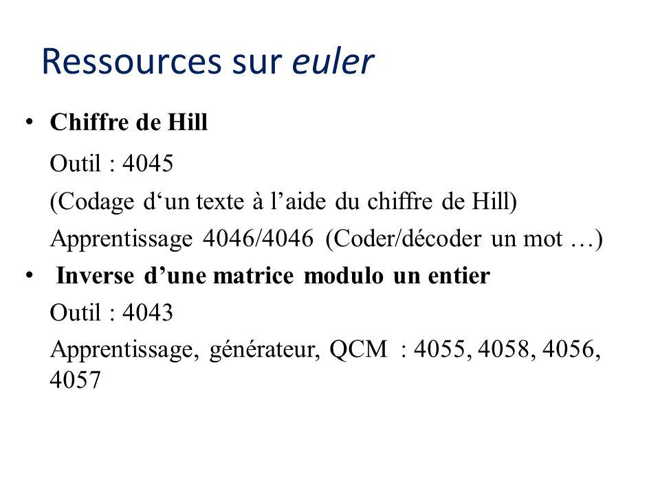 Ressources sur euler Outil : 4045 Chiffre de Hill