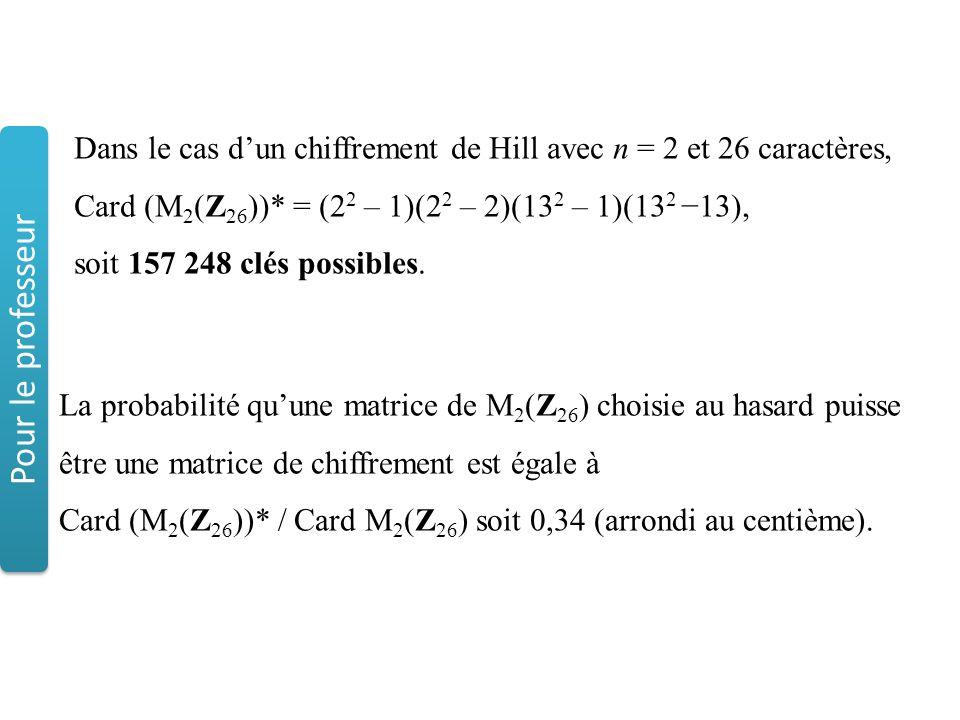Dans le cas d'un chiffrement de Hill avec n = 2 et 26 caractères, Card (M2(Z26))* = (22 – 1)(22 – 2)(132 – 1)(132 −13),