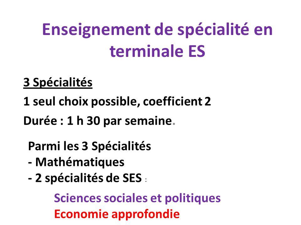 Enseignement de spécialité en terminale ES