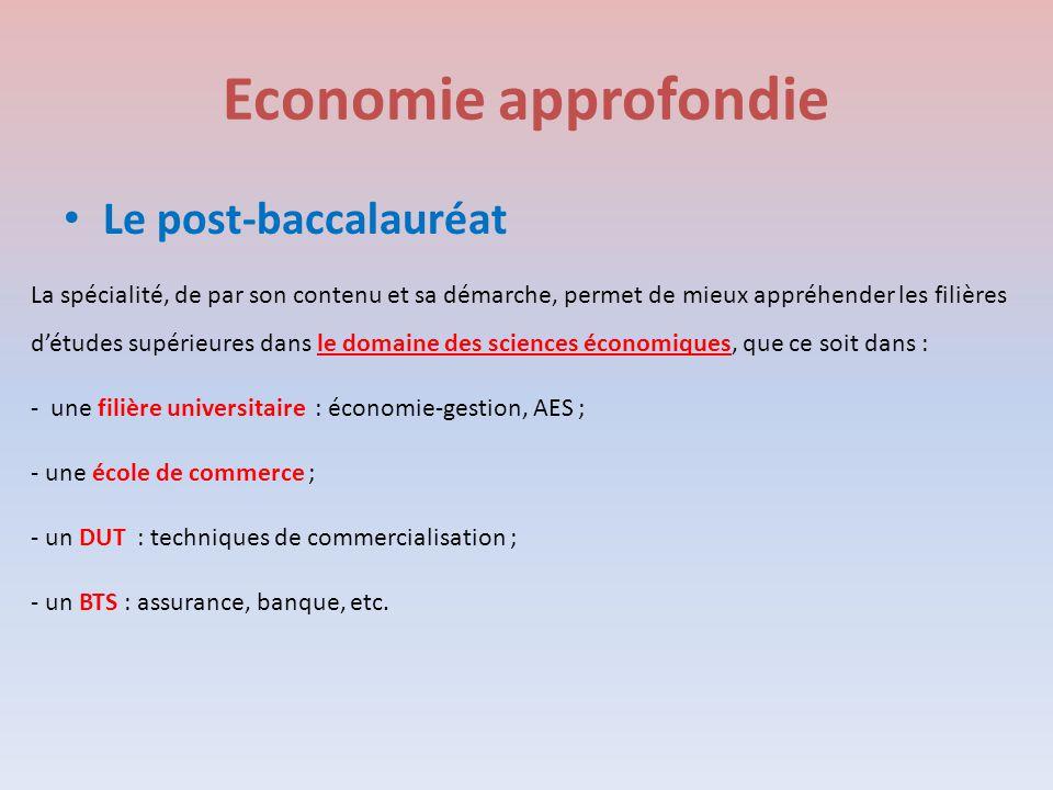 Economie approfondie Le post-baccalauréat