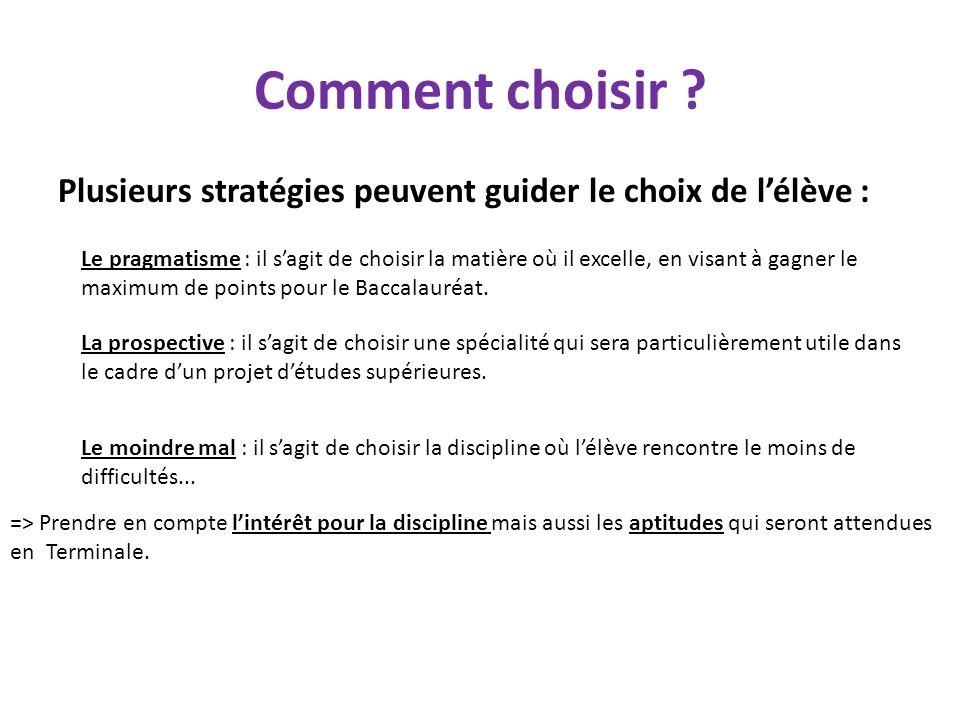 Comment choisir Plusieurs stratégies peuvent guider le choix de l'élève :