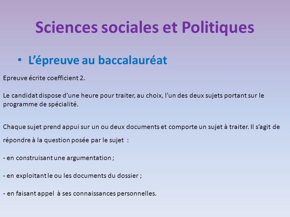Sciences sociales et Politiques