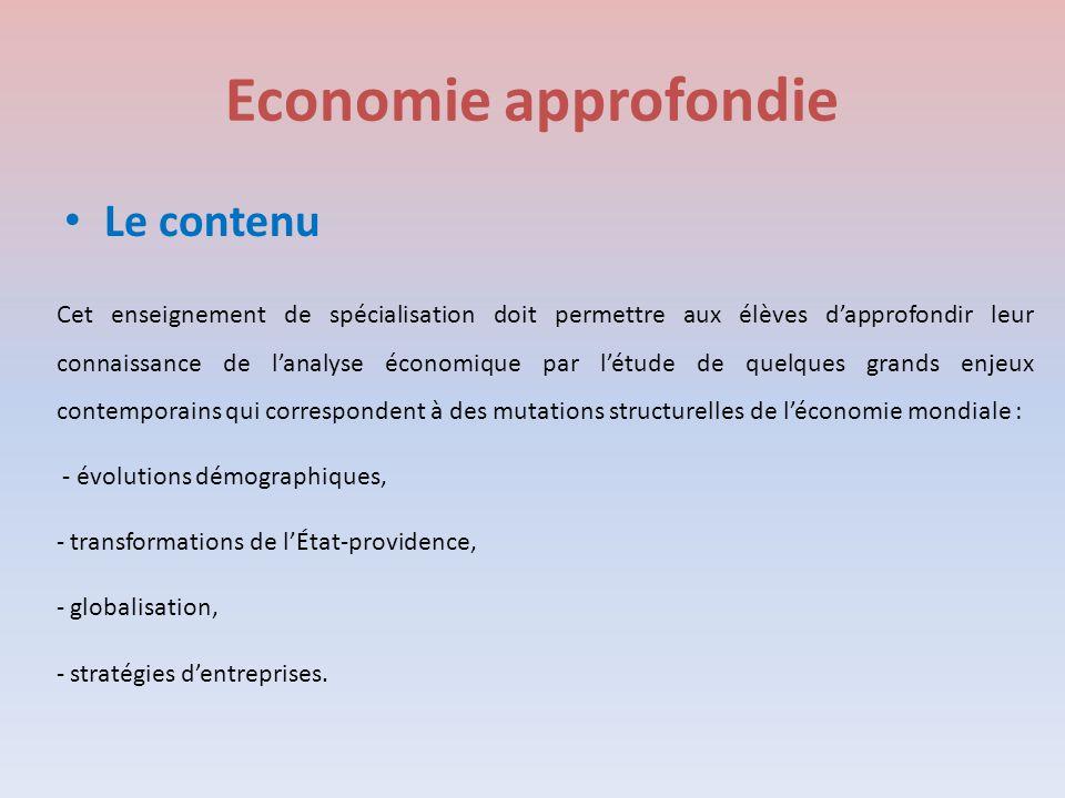 Economie approfondie Le contenu