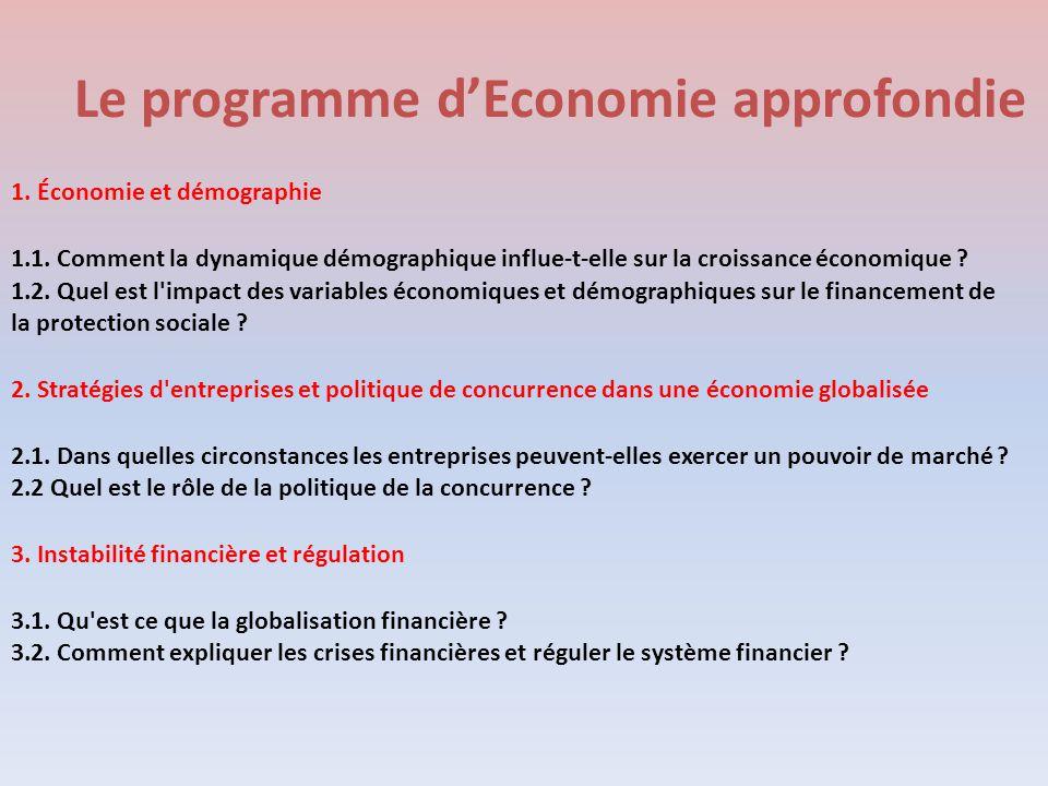 Le programme d'Economie approfondie