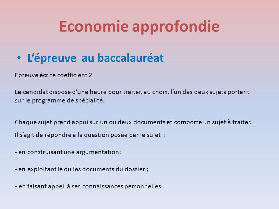 Economie approfondie L'épreuve au baccalauréat