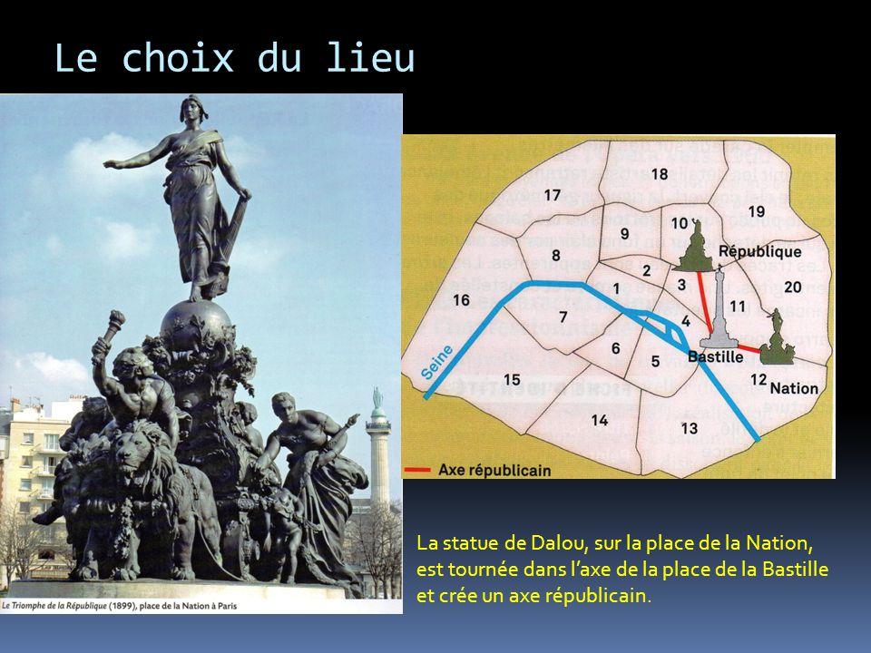 Le choix du lieu La statue de Dalou, sur la place de la Nation, est tournée dans l'axe de la place de la Bastille et crée un axe républicain.