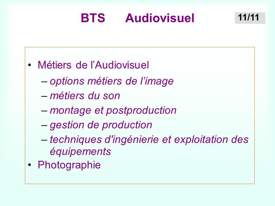 BTS Audiovisuel Métiers de l'Audiovisuel options métiers de l'image