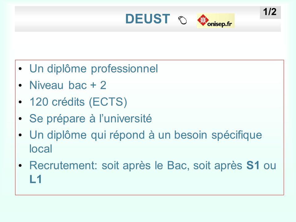 DEUST Un diplôme professionnel Niveau bac + 2 120 crédits (ECTS)