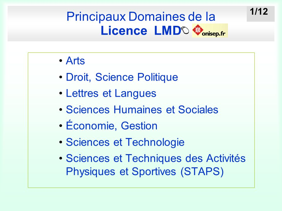 Principaux Domaines de la Licence LMD