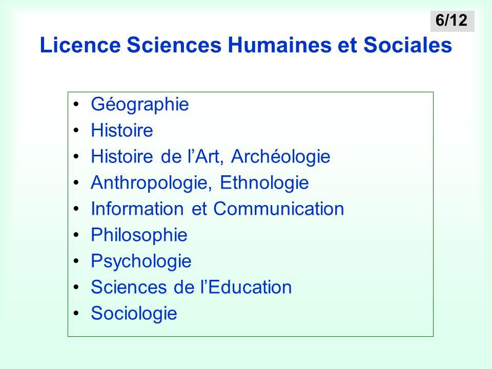 Licence Sciences Humaines et Sociales