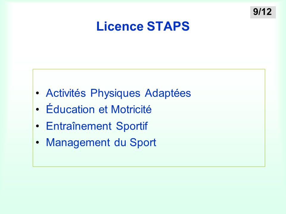 Licence STAPS Activités Physiques Adaptées Éducation et Motricité