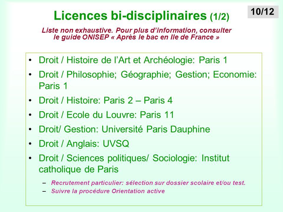 Licences bi-disciplinaires (1/2)