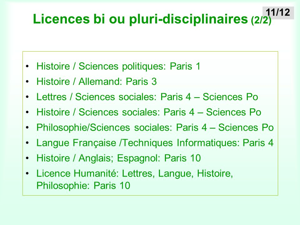 Licences bi ou pluri-disciplinaires (2/2)