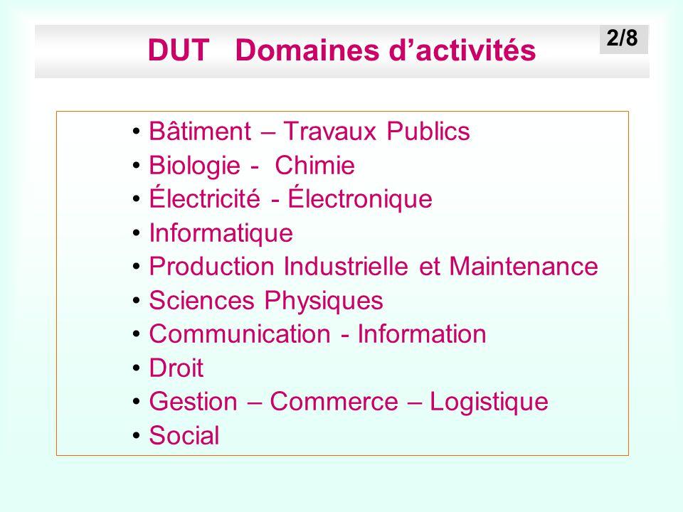 DUT Domaines d'activités