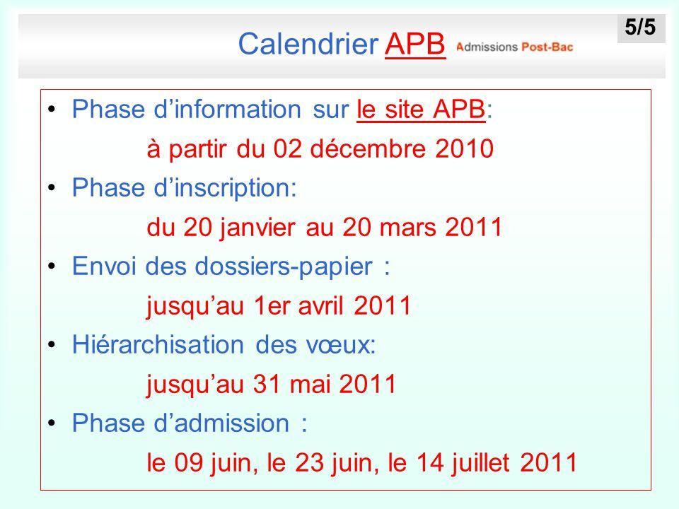 Calendrier APB Phase d'information sur le site APB: