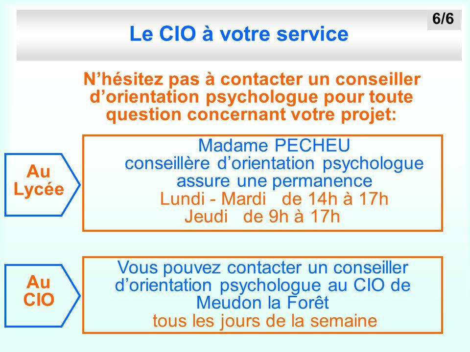 Le CIO à votre service 6/6. N'hésitez pas à contacter un conseiller d'orientation psychologue pour toute question concernant votre projet: