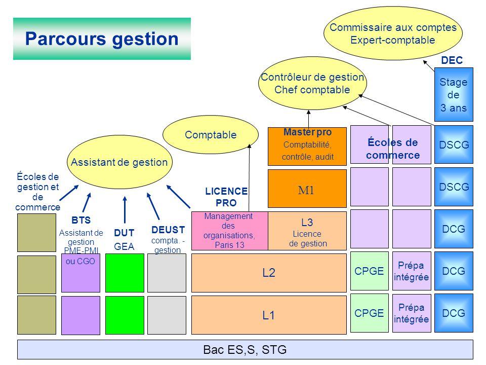 Parcours gestion M1 L2 L1 Bac ES,S, STG Commissaire aux comptes