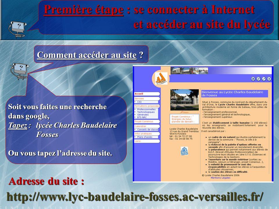 Première étape : se connecter à Internet et accéder au site du lycée