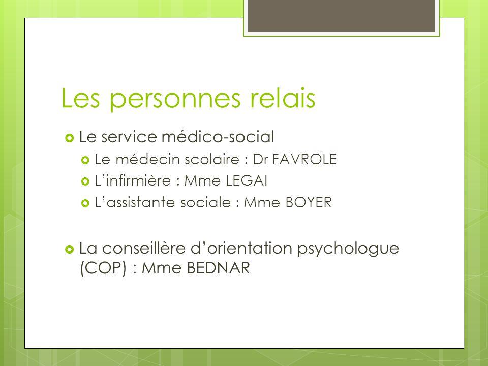 Les personnes relais Le service médico-social