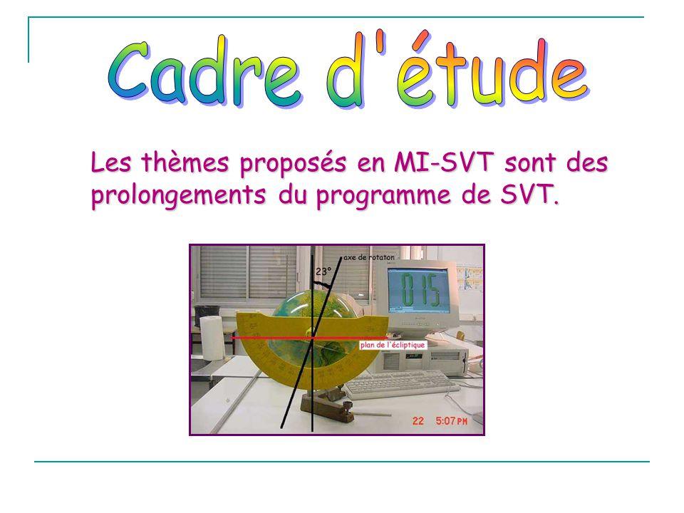 Cadre d étude Les thèmes proposés en MI-SVT sont des prolongements du programme de SVT.