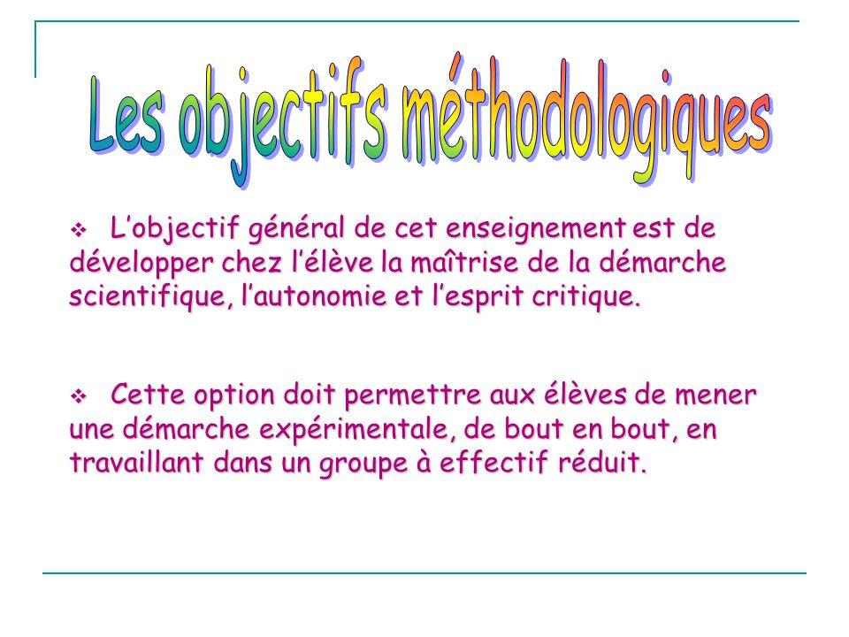 Les objectifs méthodologiques