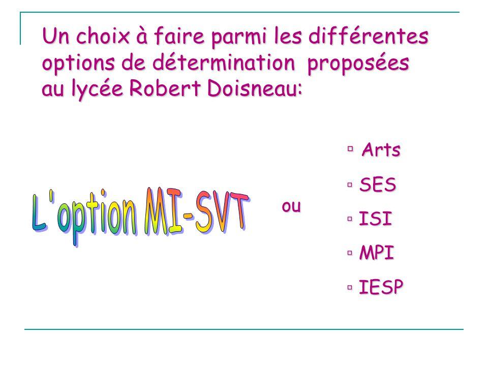 Un choix à faire parmi les différentes options de détermination proposées au lycée Robert Doisneau: