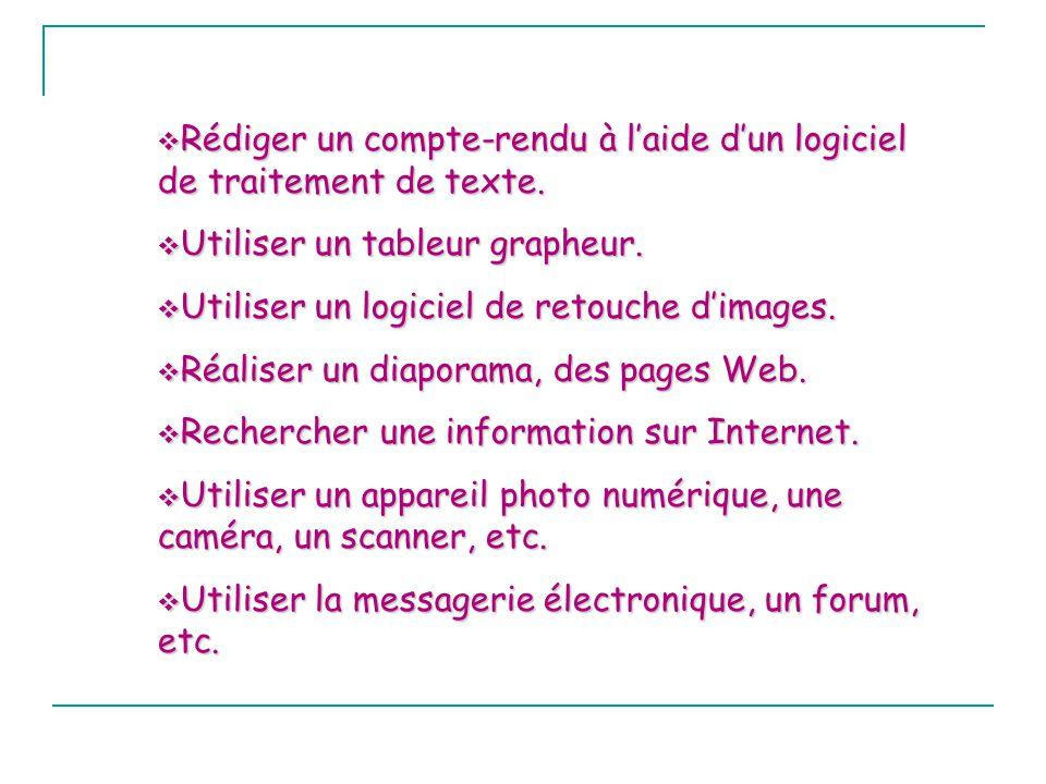 Rédiger un compte-rendu à l'aide d'un logiciel de traitement de texte.